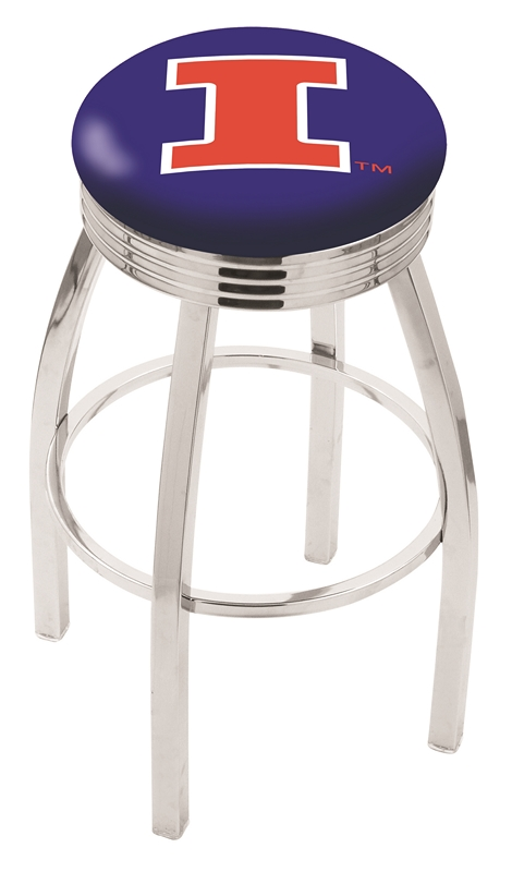 "Illinois Fighting Illini (L8C3C) 30"" Tall Logo Bar Stool by Holland Bar Stool Company (with Single Ring Swivel Chrome Solid Welded Base)"