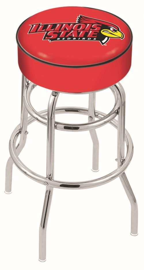 "Illinois State Redbirds (L7C1) 25"" Tall Logo Bar Stool by Holland Bar Stool Company (with Double Ring Swivel Chrome Base)"