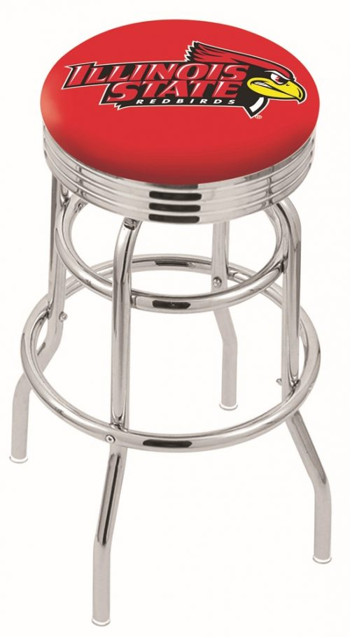 "Illinois State Redbirds (L7C3C) 25"" Tall Logo Bar Stool by Holland Bar Stool Company (with Double Ring Swivel Chrome Base)"