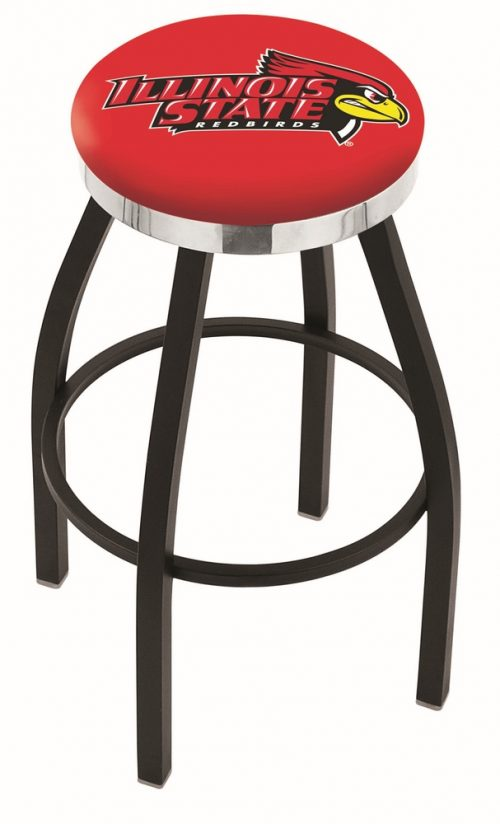"Illinois State Redbirds (L8B2C) 30"" Tall Logo Bar Stool by Holland Bar Stool Company (with Single Ring Swivel Black Solid Welded Base)"