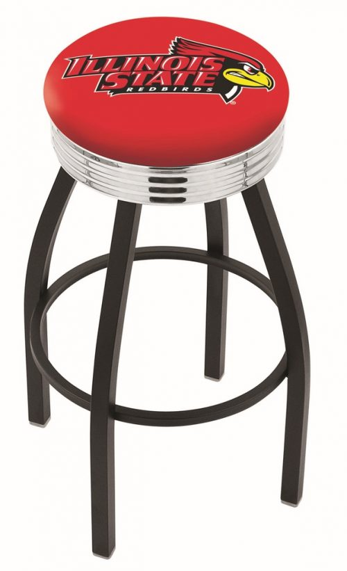 "Illinois State Redbirds (L8B3C) 30"" Tall Logo Bar Stool by Holland Bar Stool Company (with Single Ring Swivel Black Solid Welded Base)"