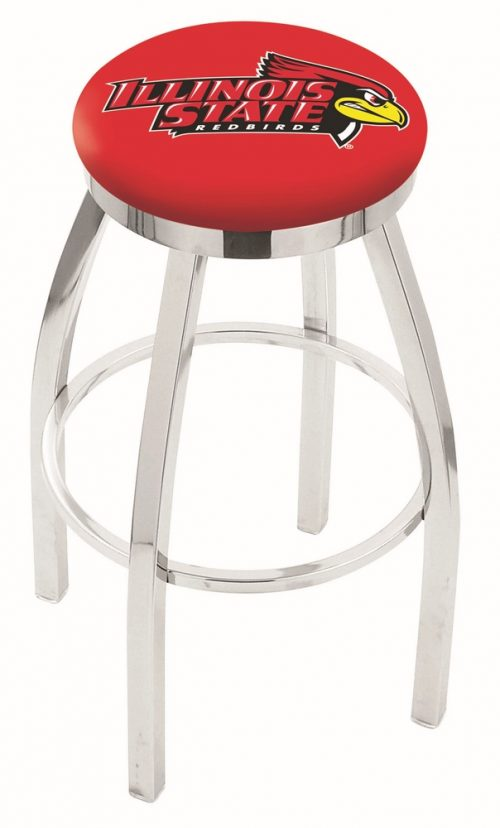 """Illinois State Redbirds (L8C2C) 25"""" Tall Logo Bar Stool by Holland Bar Stool Company (with Single Ring Swivel Chrome Solid Welded Base)"""
