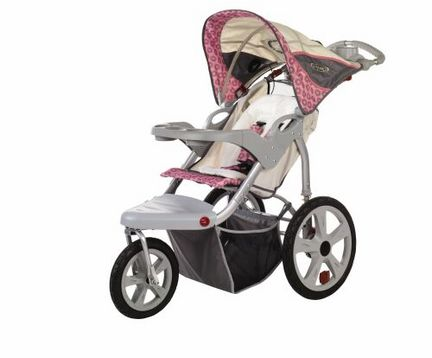 InSTEP Grand Safari (Tan / Pink) Swivel Wheel Single Jogger / Stroller