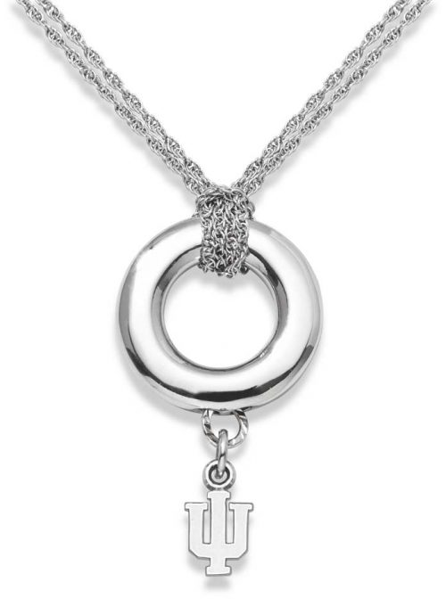 "Indiana Hoosiers 3/8"" ""IU"" Sterling Silver Halo Necklace"