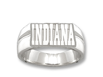 "Indiana Hoosiers ""Indiana"" 3/8"" Men's Ring Size 11 - Sterling Silver Jewelry"