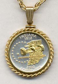 """Indiana Two Tone Rope Bezel Statehood Quarter with 18"""" Rope Necklace"""