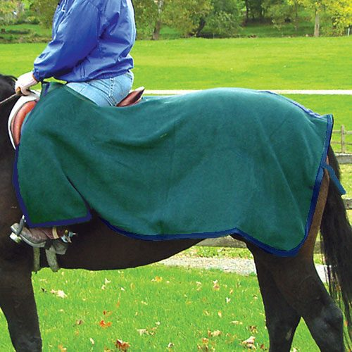 Intrepid International 223090HG Fleece Quarter Sheet - Hunter Green & Navy