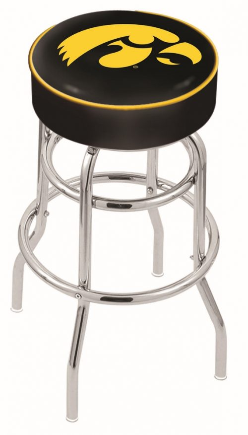 "Iowa Hawkeyes (L7C1) 25"" Tall Logo Bar Stool by Holland Bar Stool Company (with Double Ring Swivel Chrome Base)"
