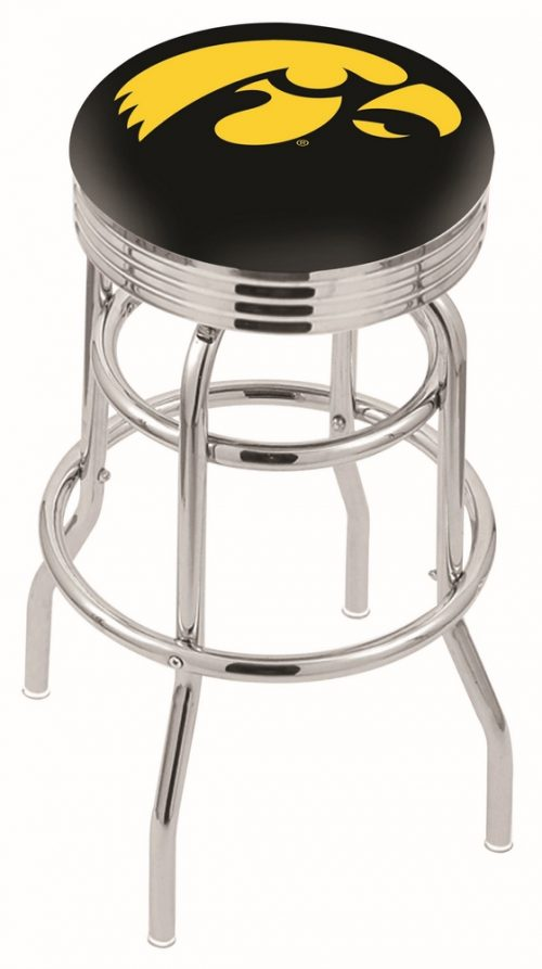 "Iowa Hawkeyes (L7C3C) 25"" Tall Logo Bar Stool by Holland Bar Stool Company (with Double Ring Swivel Chrome Base)"