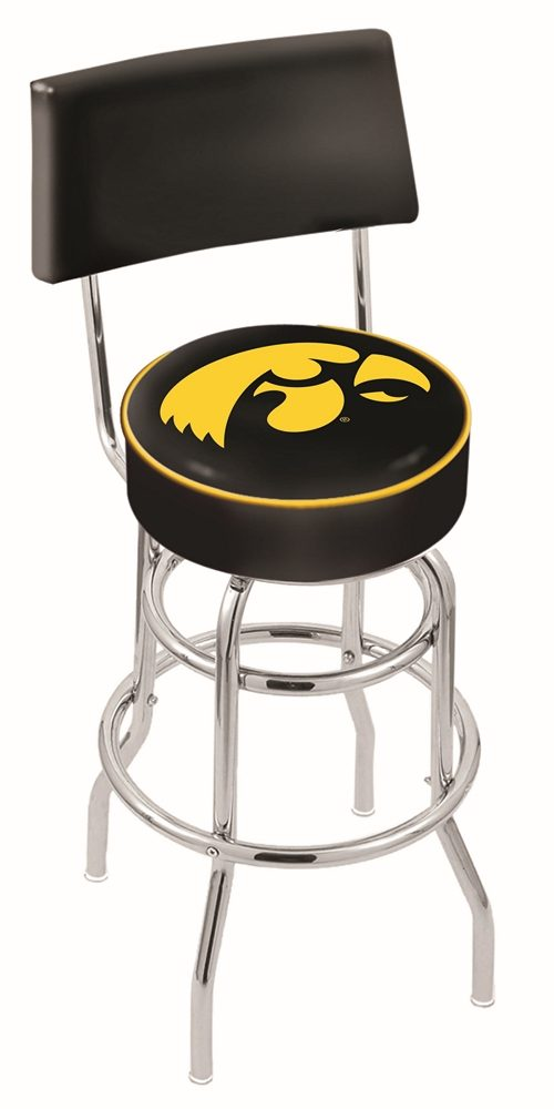 "Iowa Hawkeyes (L7C4) 25"" Tall Logo Bar Stool by Holland Bar Stool Company (with Double Ring Swivel Chrome Base and Chair Seat Back)"