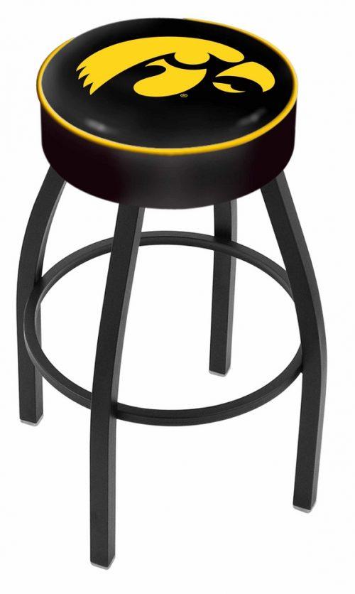"Iowa Hawkeyes (L8B1) 25"" Tall Logo Bar Stool by Holland Bar Stool Company (with Single Ring Swivel Black Solid Welded Base)"