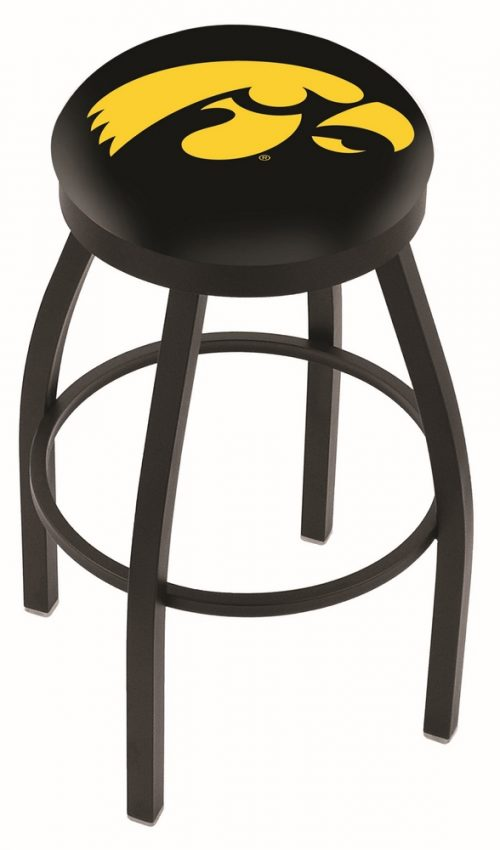 "Iowa Hawkeyes (L8B2B) 30"" Tall Logo Bar Stool by Holland Bar Stool Company (with Single Ring Swivel Black Solid Welded Base)"