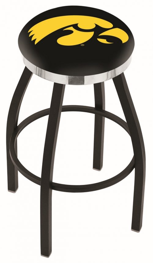 "Iowa Hawkeyes (L8B2C) 30"" Tall Logo Bar Stool by Holland Bar Stool Company (with Single Ring Swivel Black Solid Welded Base)"