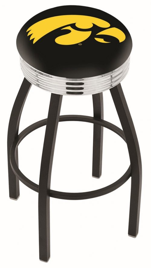 "Iowa Hawkeyes (L8B3C) 30"" Tall Logo Bar Stool by Holland Bar Stool Company (with Single Ring Swivel Black Solid Welded Base)"