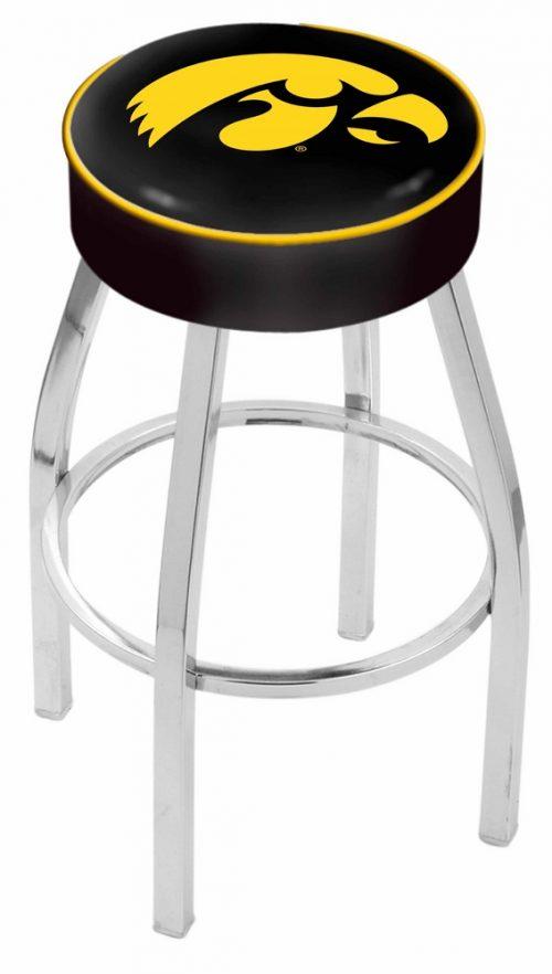 "Iowa Hawkeyes (L8C1) 30"" Tall Logo Bar Stool by Holland Bar Stool Company (with Single Ring Swivel Chrome Solid Welded Base)"