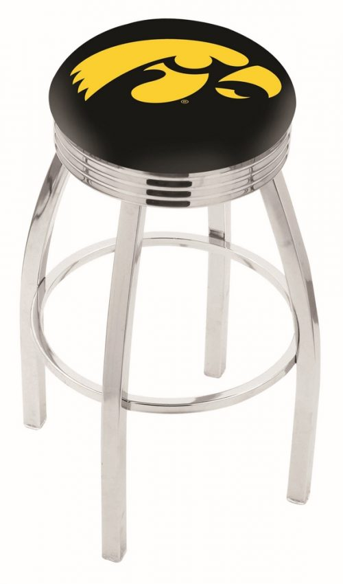 "Iowa Hawkeyes (L8C3C) 25"" Tall Logo Bar Stool by Holland Bar Stool Company (with Single Ring Swivel Chrome Solid Welded Base)"