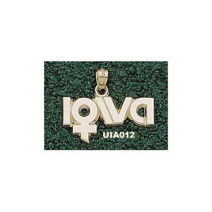 """Iowa Hawkeyes """"Lady's Sports Logo"""" Pendant - 10KT Gold Jewelry"""