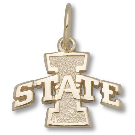 """Iowa State Cyclones 3/8"""" """"I State"""" Logo Charm - 14KT Gold Jewelry"""
