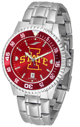 Iowa State Cyclones Competitor AnoChrome Men's Watch with Steel Band and Colored Bezel