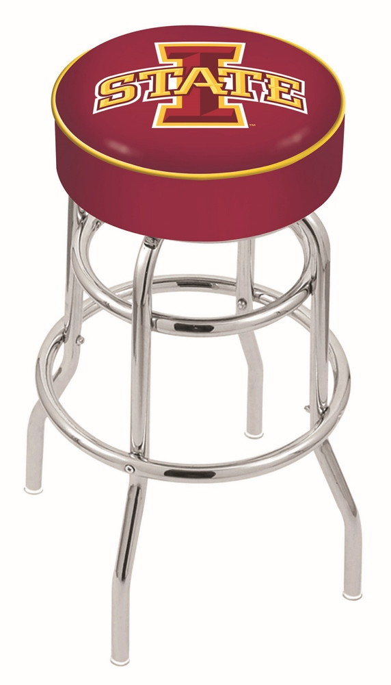 """Iowa State Cyclones (L7C1) 30"""" Tall Logo Bar Stool by Holland Bar Stool Company (with Double Ring Swivel Chrome Base)"""