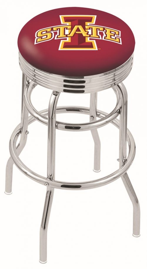"Iowa State Cyclones (L7C3C) 30"" Tall Logo Bar Stool by Holland Bar Stool Company (with Double Ring Swivel Chrome Base)"