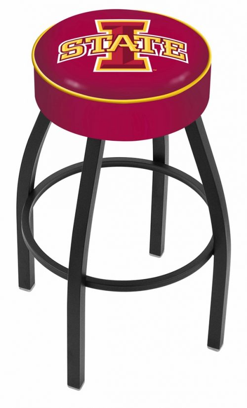 "Iowa State Cyclones (L8B1) 25"" Tall Logo Bar Stool by Holland Bar Stool Company (with Single Ring Swivel Black Solid Welded Base)"