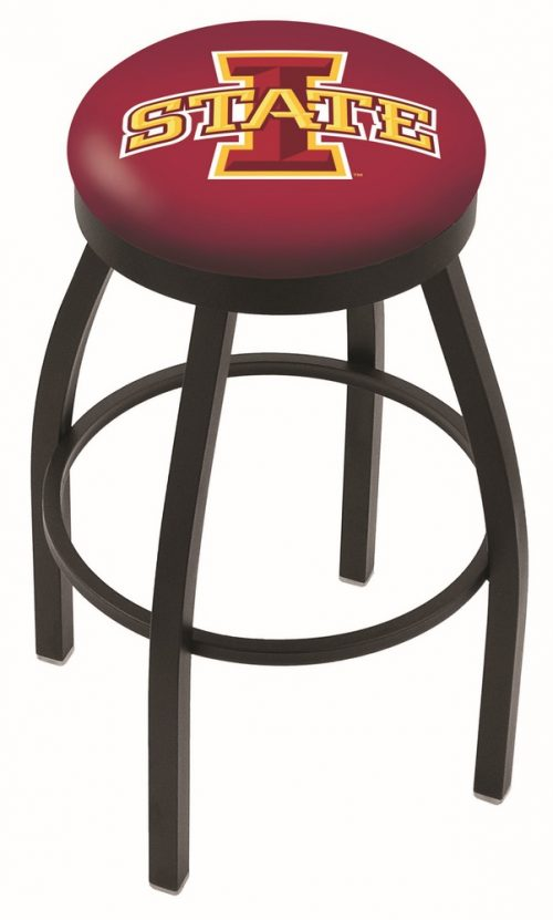 "Iowa State Cyclones (L8B2B) 30"" Tall Logo Bar Stool by Holland Bar Stool Company (with Single Ring Swivel Black Solid Welded Base)"
