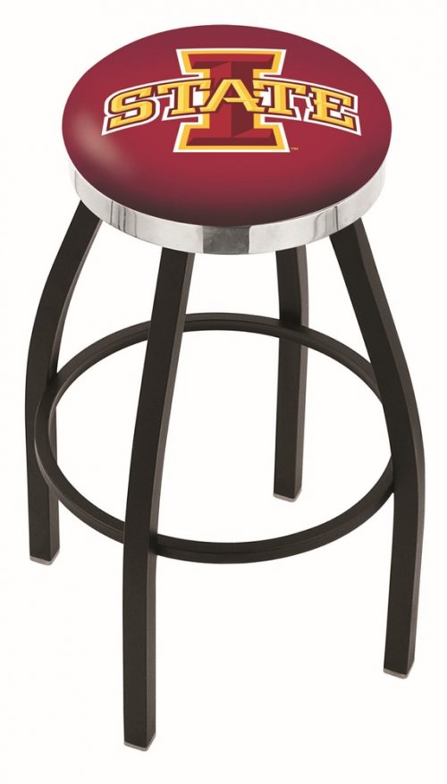 "Iowa State Cyclones (L8B2C) 25"" Tall Logo Bar Stool by Holland Bar Stool Company (with Single Ring Swivel Black Solid Welded Base)"