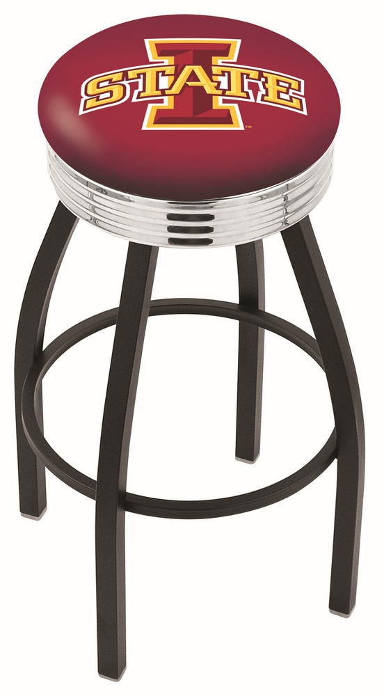 """Iowa State Cyclones (L8B3C) 25"""" Tall Logo Bar Stool by Holland Bar Stool Company (with Single Ring Swivel Black Solid Welded Base)"""
