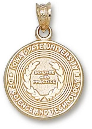 "Iowa State Cyclones ""Seal"" Pendant - 10KT Gold Jewelry"