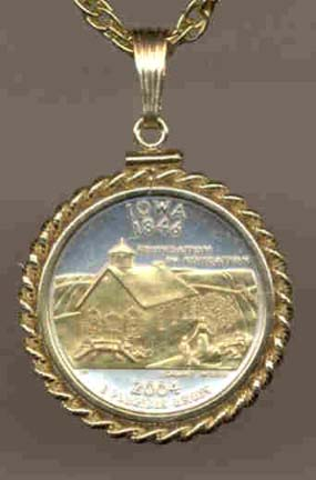 """Iowa Two Tone Rope Bezel Statehood Quarter with 18"""" Rope Necklace"""