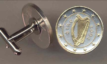 "Ireland One Euro ""Harp, Stars, Center Circle & Rim in Gold"" Two Tone Gold on Silver World Cuff Links - 1 Pair"