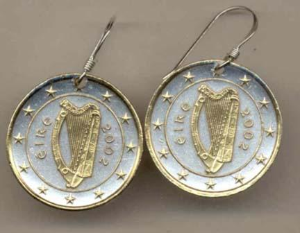 Ireland One Euro Two Tone Coin Earrings