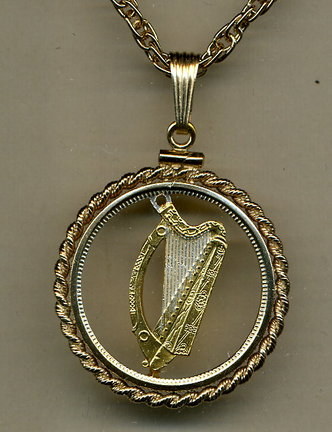 """Irish 1/2 Penny """"Harp"""" (1928 -1967) Two Tone Coin Cut Out Pendant with 18"""" Chain and Rope Bezel"""