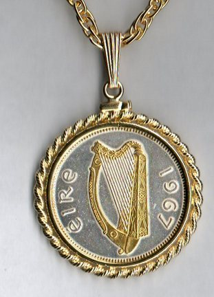 "Irish Half Penny ""Harp"" Two Tone Rope Bezel Coin on 18"" Chain"