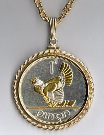 "Irish Penny ""Chicken with Chicks"" Two Tone Rope Bezel Coin on 24"" Chain"