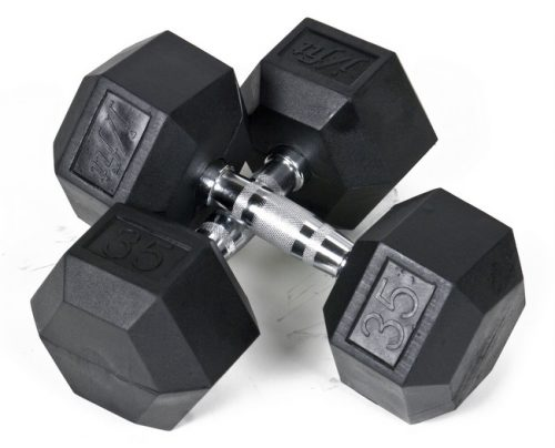 J Fit 20-6535-2 Rubber Dumbbells 35lb - Pair