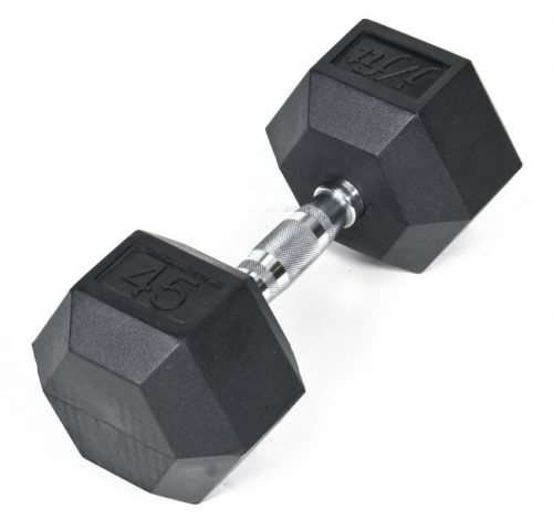 J Fit 20-6545 Rubber Dumbbell 45lb Single