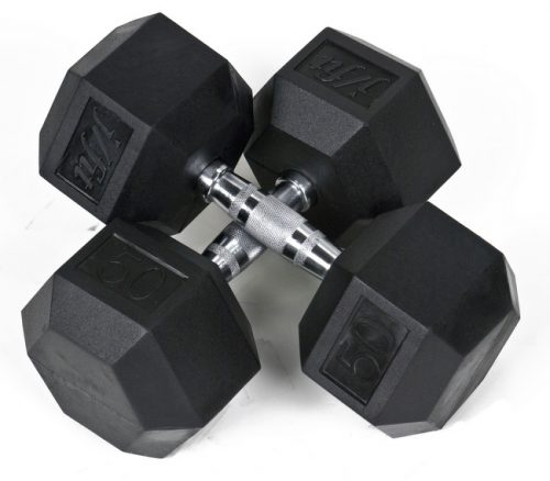 J Fit 20-6550-2 Rubber Dumbbells 50lb - Pair