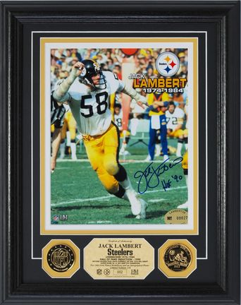 "Jack Lambert Autographed 8"" x 10"" Framed Photograph and Medallion Set from The Highland Mint"