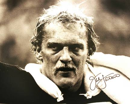 "Jack Lambert Autographed ""BW Close Up with Signature in Black"" Pittsburgh Steelers 16"" x 20"" Photo"
