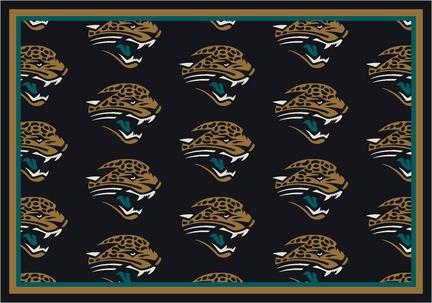 """Jacksonville Jaguars 3' 10"""" x 5' 4"""" Team Repeat Area Rug (Black)"""