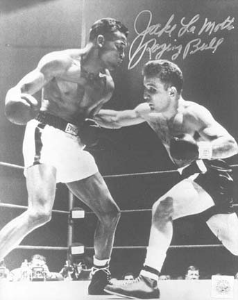 "Jake LaMotta Autographed ""Punching Sugar Ray Robinson"" 16"" x 20"" Black & White Photograph (Unframed)"