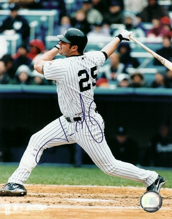 "Jason Giambi ""Swinging"" Autographed New York Yankees 8"" x 10"" Photograph (Unframed)"