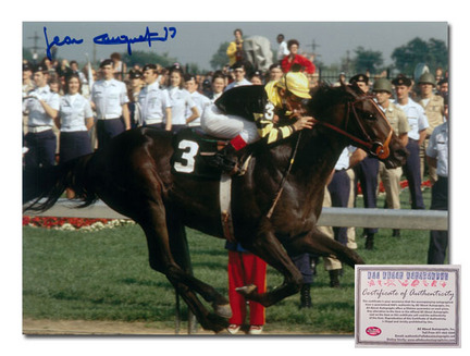 "Jean Cruguet Seattle Slew Horse Racing Kentucky Derby ""Triple Crown Winner 1977 Color"" Autographed 11"" x 14"" Photograph"