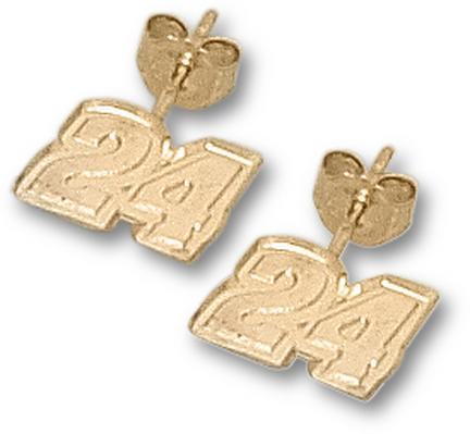 """Jeff Gordon 1/4"""" Very Small #24 Post Earrings - 10KT Gold Jewelry"""