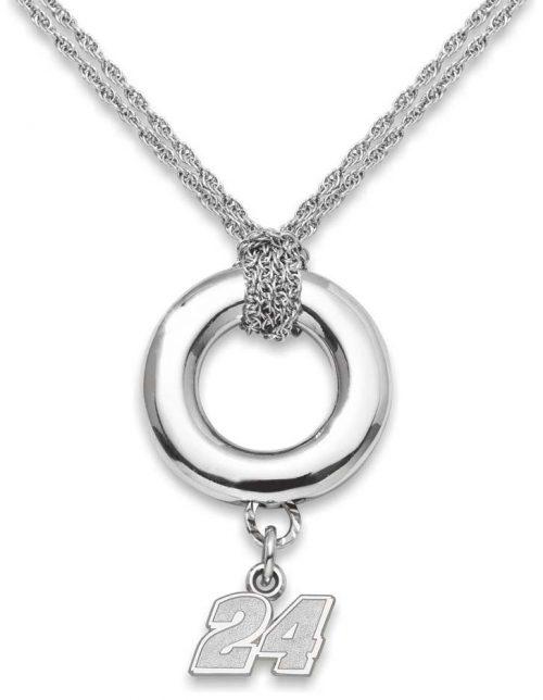 "Jeff Gordon 3/8"" Logo Sterling Silver Halo Necklace"