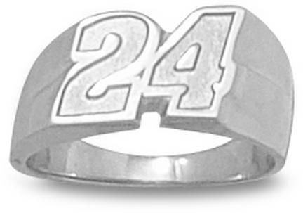 "Jeff Gordon 5/16"" Small #24 Ladies' Ring (Size 6) - Sterling Silver Jewelry"