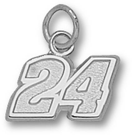 "Jeff Gordon Small Driver Number ""24"" Charm - 14KT White Gold Jewelry"