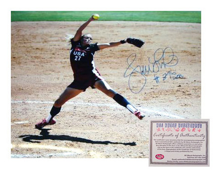 "Jennie Finch Autographed 8"" x 10"" Olympics Pitching Photograph with ""#27"" Inscription (Unframed)"